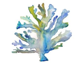 Coral Watercolor Print.  Coastal Art.  Beach Decor.