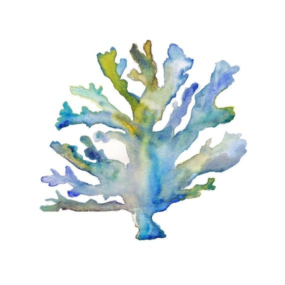 Coral Watercolor Print. Coastal Art. Beach by SnoogsAndWilde