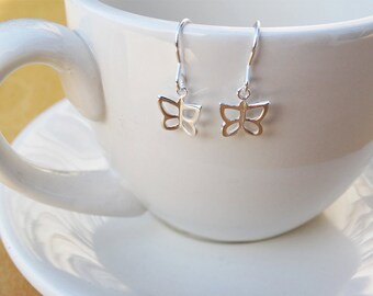 Tiny Silver Butterfly Earrings - Sterling Silver