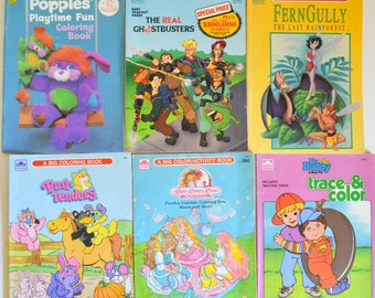 Vintage Coloring Books collection. Popples, Ghostbusters, Lady Lovely Locks, Fern Gully, My Buddy, Purr-tenders Collectibles