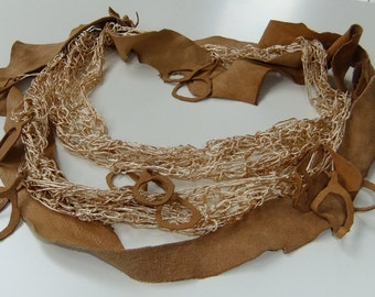 Leather & Crochet Silk Thread Tattered Necklace