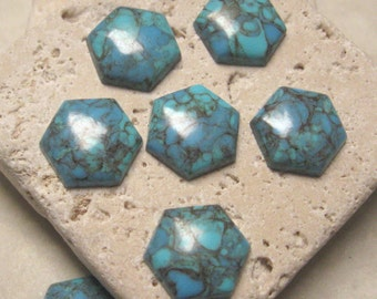 Vintage 12mm Hexagon Cabs in Turquoise Matrix.  1 dz.