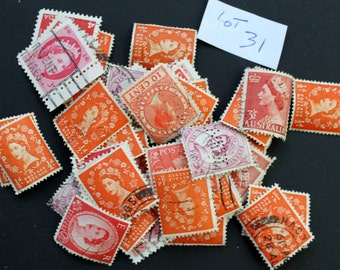 50 International Vintage Stamps of Queens - shades of Orange and Reds (lot 31)
