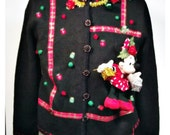 3D  MINNIE MOUSE Ugly Tacky CHRISTMAS Sweater Black Mens Womens Sparkle