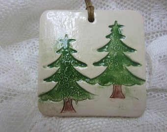 SALE Green Pine Tree Christmas Ornament
