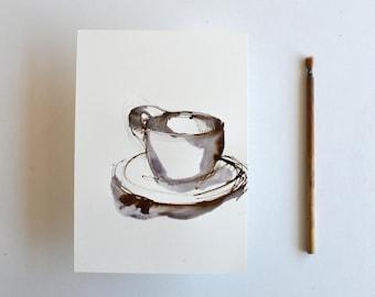 Original Figurative Art Drawing- Ink wash,ink dark, grey, black, brown on acid free paper Windsor and Newton