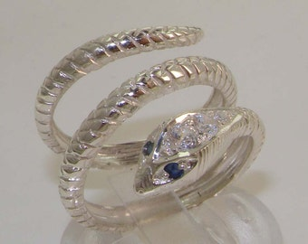 Solid 925 Sterling Silver Sapphire & Cubic Zirconia CZ Snake Band Wrap Ring - Supplied in Your Finger Size