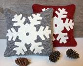 Decorative Balsam Pillow, Snowflake Pillow, Winter Pillow, Christmas Pillow, Red, Gray Pillow, Little Pillow, 6 Inch Square Pillow