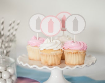 Bottle Cupcake Topper, Set of 12, Baby Shower Decor, Pink Gray Baby Shower, Baby Girl Shower Decoration