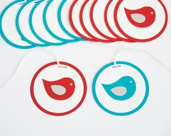 Set of 12 Bird Tags, Baby Shower Decoration, Turquoise and Red