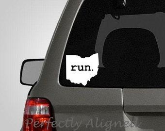 Ohio RUN Home State Vinyl Decal