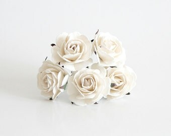 25 pcs - WHITE mulberry paper BIG 4 cm ROSES / wholesale pack