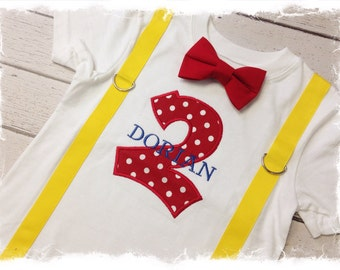 BOYS SECOND BIRTHDAY Outfit-Boys Birthday bodysuit with Red Polka Dot Two, Yellow suspenders and Red Bow Tie, Photo Prop, Cake Smash