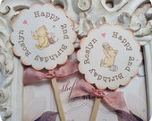 Personalized Classic Winnie the Pooh and Piglet Cupcake Toppers- Set of 10- Pooh Topper-Pooh Birthday Party-Pooh Baby Shower-Vintage Pooh
