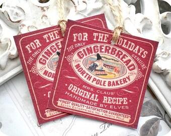 Gingerbread North Pole Tag (6) Christmas Gift Tag-Christmas Favor Tag-Treat Tag-Holiday Tag-Tags for Baked Goods-Tags for Christmas