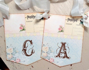 Shabby CARDS Banner - Rustic - Wedding Decoration - Baby