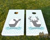 Wedding Cornhole Set  - Chevron Buck and Doe w/ Monogram