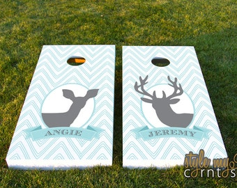 Wedding Cornhole Set  - Chevron Buck and Doe w/ Monogram