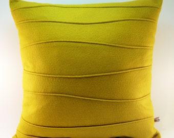 Mustard Yellow Pillow, Felt Pillow, Modern Pillow with Wavy Ribbing, Wool Felt Pillow, 16 x 16, 18 x 18, 20 x 20