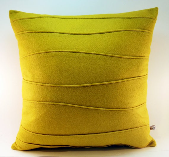 Mustard Yellow Pillow Felt Pillow Modern Pillow with Wavy