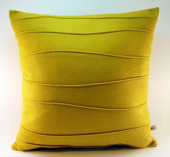 Modern Felt Pillows : Mustard Yellow Pillow Felt Pillow Modern Pillow with Wavy