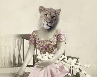 Elsa - Vintage Cat 5x7 Print - Altered Photograph - Whimsical Art - Lioness Art - Anthropomorphic - Wildlife Art