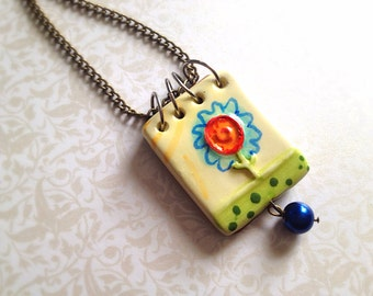 Miniature Ceramic Book Necklace. Writer. Small Book. Opening Book Pad. Woodland. Floral. Blue. Yellow. Spring. Vintage Style Brass Chain.