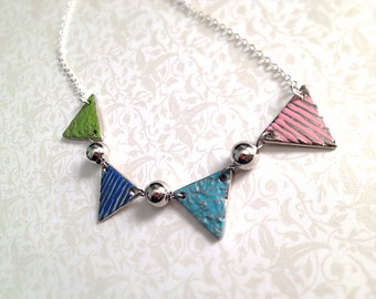 Pastel Bunting Necklace. Pennant. Romantic. Party. Silver. Triangle. Geometric. Flags. Banner Necklace. Under 20. Gifts for Her. Baby.