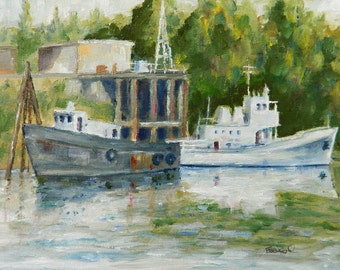 Home Decor - Boats On The River - original oil painting