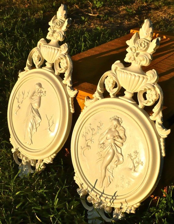 Winter Spring Plaques, Seasons Syroco Plaques, Vintage Dart Industries, Grecian Ladies 4056A 40556B, Winter Art, Spring Art , Classical