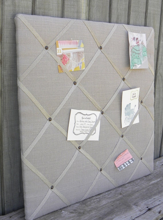 Upholstered french memo board linen pin board decorative for How to make a bulletin board wall