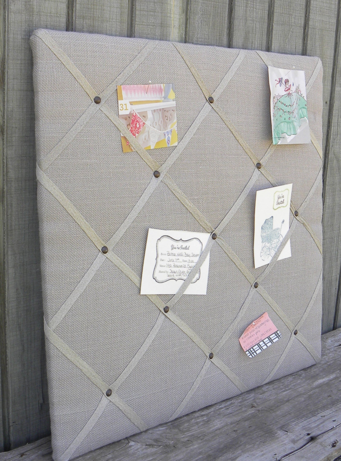 upholstered french memo board linen pin board decorative