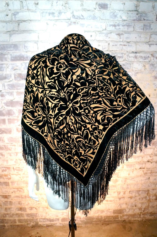 vintage burnout velvet and black fringe shawl piano scarf