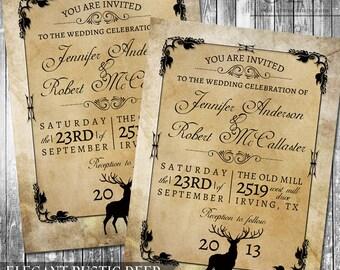 Rustic Woodland Wedding Invitation Deer Wood Fall Hunter Digital Invitation  Rustic Outdoor Invite Digital File Kraft