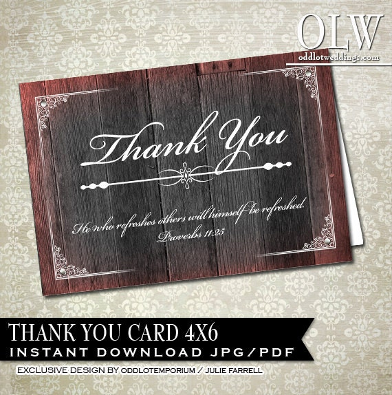 Thank You Biblical Quotes: Bible Verse Thank You Card Rustic Wood Thanks You Card