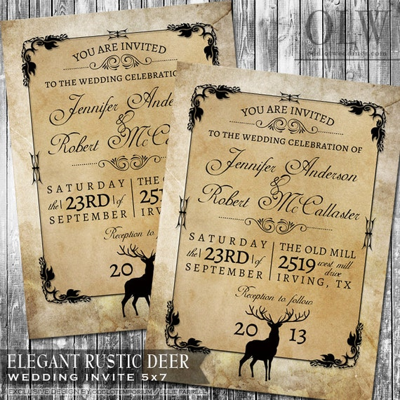 Rustic Woodland Wedding Invitation Deer Wood Fall Hunter Digital Invitation Rustic Outdoor Invite Digital File Kraft Paper Look