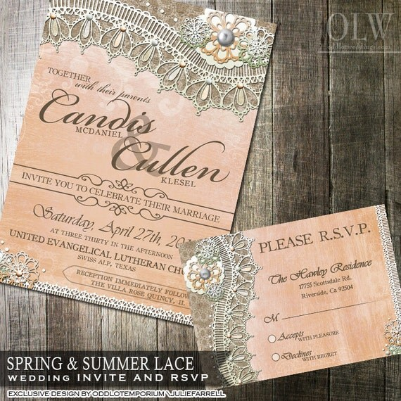 Rustic Lace Wedding Invitation And RSVP Card Rustic Peach And