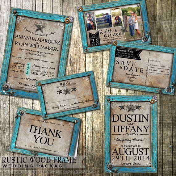 Rustic Wedding Invitation And Stationery Set Rustic Turquoise