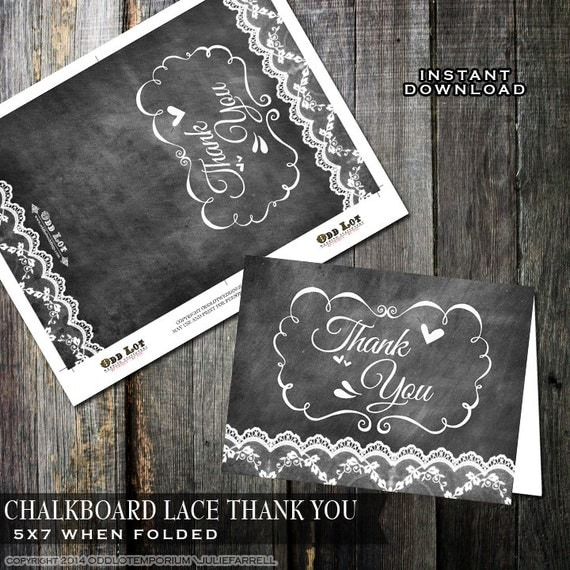chalkboard thank you cards lace thank you cards printable thank