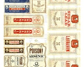 Vintage Halloween Poison Labels Digital Download Printable Digital Sheet DIY