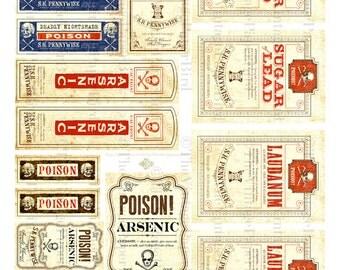 Vintage Halloween Poison Labels Digital Download Printable Digital Sheet DIY