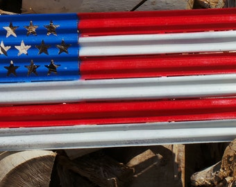 FREE SHIPPING Painted Corrugated Metal American Flag Fourth of July