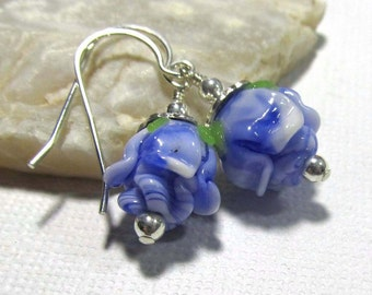 Dangle Drop Earrings - Lampwork Short Rose Bud - Royal Blue - Sterling Silver Ear Hooks (Z-2)