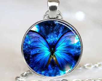 Blue Glowing Butterfly Handcrafted  Necklace  Pendant (PD0235)