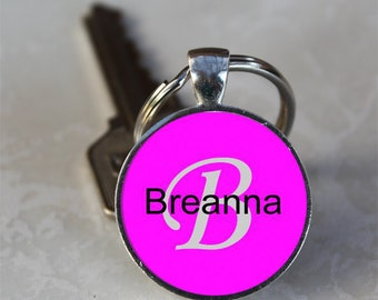 Breanna Name Monogram Handcrafted Glass Dome Keychain (GDNKC0363)