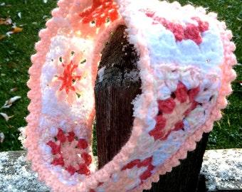 Pink  Crocheted Headband- Crochet Granny Squares- Womans Winter Earwarmer- Ready To Ship