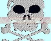 Skull and Bones Mini Design INSTANT DOWNLOAD Embroidery Design Pattern