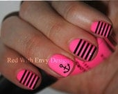 Anchor and Stripe Vinyl Nail Decals- Set of 36