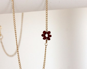 garnet flower necklace, delicate 14k gold filled handmade necklace, January birthstone, dainty gemstone necklace, artisan jewelry girlthree