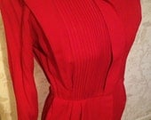 SALE -- 40s-50s Scarlet Red Gabardine Wasp-Waist Suit Dress with French Cuffs sm-med